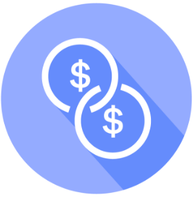 two coins with dollar symbol