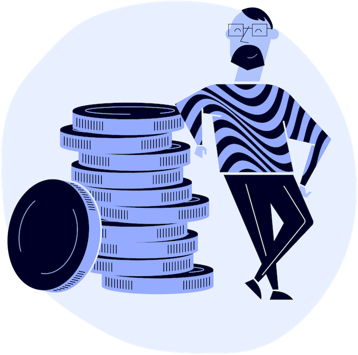 man leaning on stacked coins