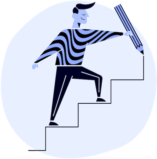 man drawing a staircase and stepping up